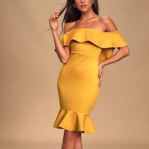 LULU'S   Confidence Boost Yellow Ruffle Dress